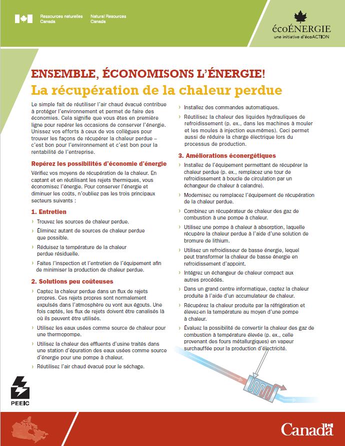 LA RECUPERATION DE LA CHALEUR PERDUE ENSEMBLE ECONOMISONS L'ENERGIE