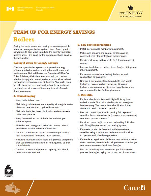 TEAM UP FOR ENERGY SAVINGS - BOILERS FACT SHEET