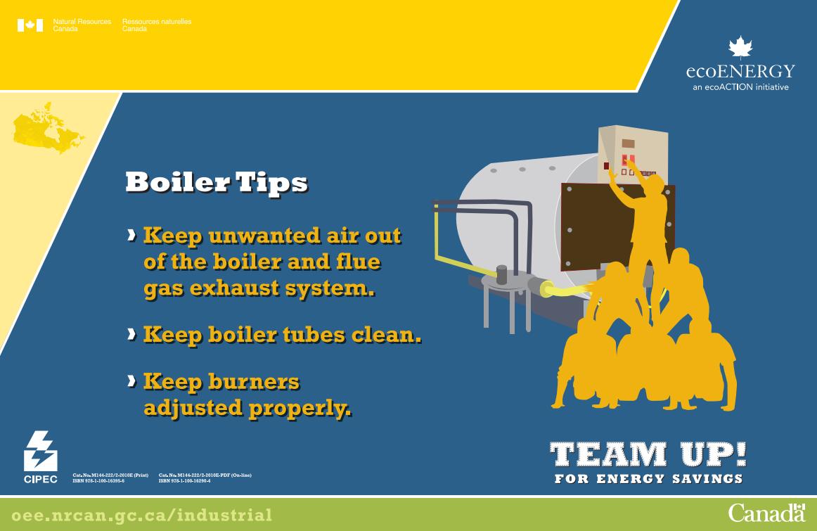 TEAM UP FOR ENERGY SAVINGS - BOILER TIPS POSTER