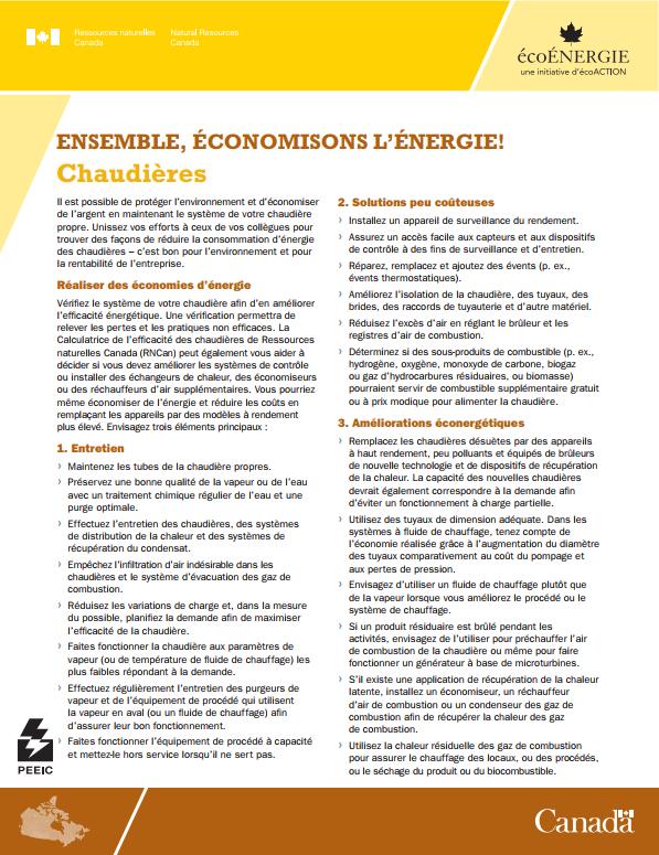 ENSEMBLE ECONOMISONS L'ENERGIE-CHAUDIERES FEUILLE DE RENSEIGNEMENT
