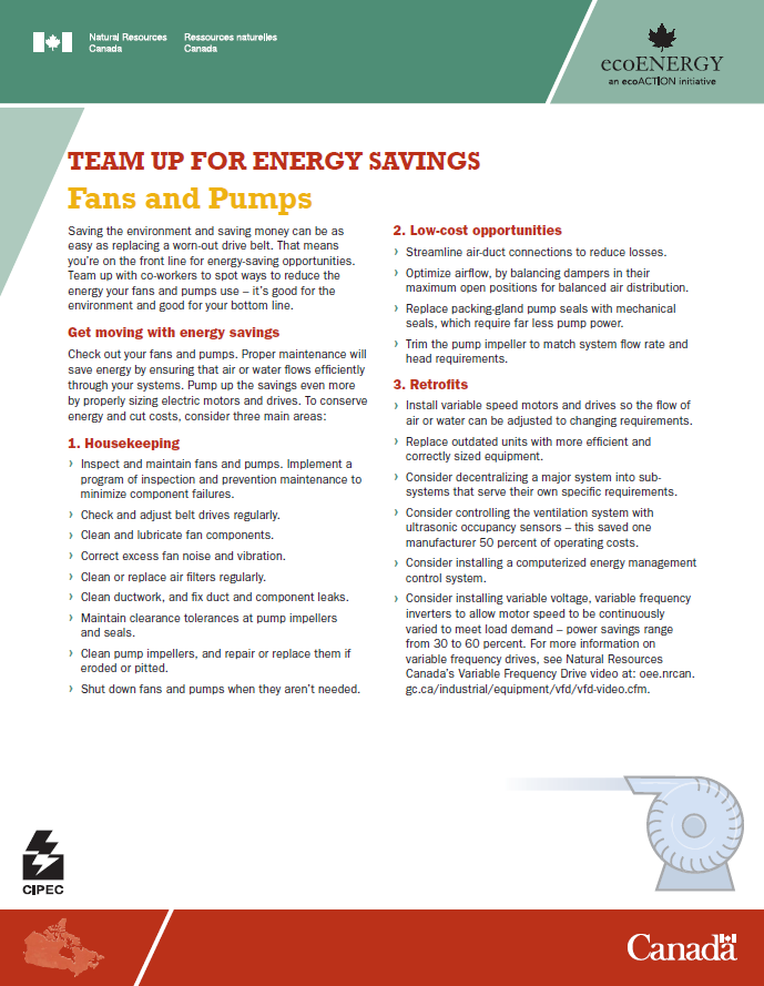 FANS AND PUMPS  TEAM UP FOR ENERGY SAVINGS