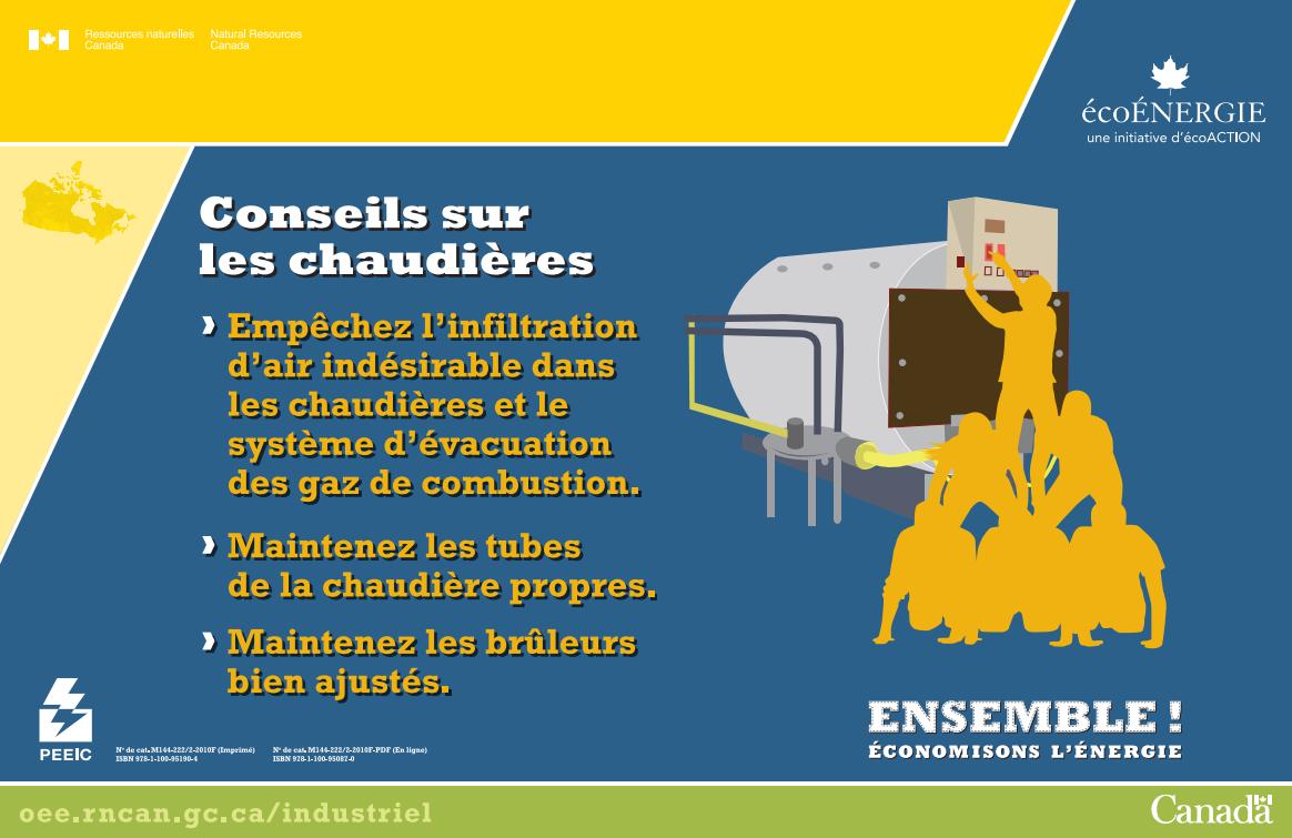 ENSEMBLE ECONOMISONS L'ENERGIE CONSEILS SUR LES CHAUDIERES  AFFICHE